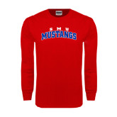 Red Long Sleeve T Shirt-Arched SMU Mustangs