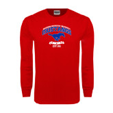 Red Long Sleeve T Shirt-Arched Mustangs w/ Banner