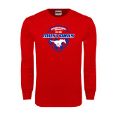 Red Long Sleeve T Shirt-Mustangs in Shield