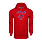 Under Armour Red Performance Sweats Team Hood-Stacked Basketball Design
