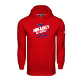 Under Armour Red Performance Sweats Team Hoodie-Angled Mustangs in Basketball