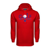 Under Armour Red Performance Sweats Team Hood-Stacked Golf Design