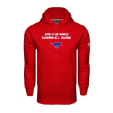 Under Armour Red Performance Sweats Team Hoodie-Stacked Swim and Dive Design