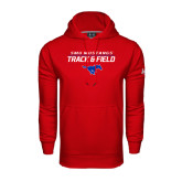 Under Armour Red Performance Sweats Team Hood-Track and Field Stacked Design