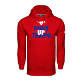Under Armour Red Performance Sweats Team Hood-Pony Up Tempo Stacked