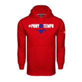 Under Armour Red Performance Sweats Team Hoodie-#PonyUpTempo Above Mustang