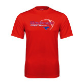 Performance Red Tee-Football Outline Design