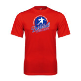 Syntrel Performance Red Tee-Player on Basketball Design