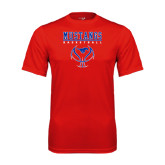 Performance Red Tee-Stacked Basketball Design