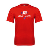 Syntrel Performance Red Tee-Stacked Cross Country Design