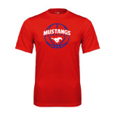 Performance Red Tee-Mustangs Basketball Arched w/ Ball