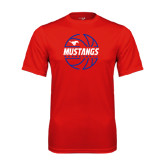 Performance Red Tee-Mustangs Basketball Lined Ball