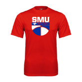 Performance Red Tee-SMU Basketball Stacked on Ball