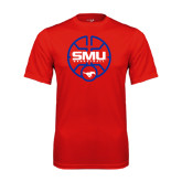 Performance Red Tee-SMU Basketball Block Stacked in Circle