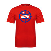 Syntrel Performance Red Tee-SMU Basketball Block in Circle