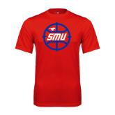 Performance Red Tee-SMU Basketball Block in Circle