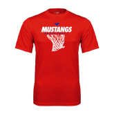 Performance Red Tee-Mustangs Basketball Stacked w/ Net