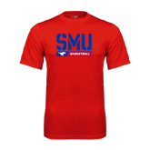 Performance Red Tee-SMU Basketball Stencil