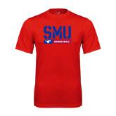 Syntrel Performance Red Tee-SMU Basketball Stencil