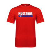 Performance Red Tee-Mustangs Basketball Stacked Bar