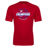 Performance Red Tee-AAC Regular Season Champions 2017 Mens Basketball Lined Ball