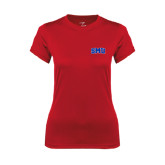 Ladies Syntrel Performance Red Tee-Block SMU