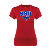 Ladies Syntrel Performance Red Tee-SMU w/Mustang