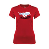 Ladies Syntrel Performance Red Tee-#PonyUpTempo Lock Arms
