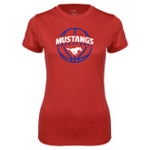 Ladies Syntrel Performance Red Tee-Mustangs Basketball Arched w/ Ball