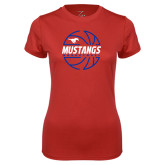 Ladies Syntrel Performance Red Tee-Mustangs Basketball Lined Ball