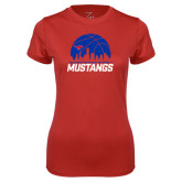 Ladies Syntrel Performance Red Tee-Mustangs Basketball Dallas Skyline