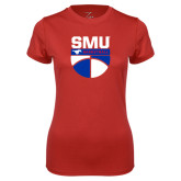 Ladies Syntrel Performance Red Tee-SMU Basketball Stacked on Ball