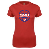 Ladies Syntrel Performance Red Tee-SMU Basketball Block Stacked in Circle