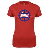 Ladies Syntrel Performance Red Tee-SMU Basketball Block in Circle