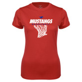 Ladies Syntrel Performance Red Tee-Mustangs Basketball Stacked w/ Net