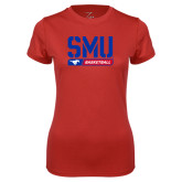 Ladies Syntrel Performance Red Tee-SMU Basketball Stencil