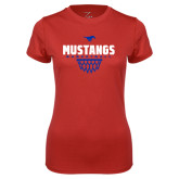 Ladies Syntrel Performance Red Tee-Mustangs Basketball Net Icon