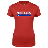 Ladies Syntrel Performance Red Tee-Mustangs Basketball Stacked Bar