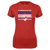 Ladies Syntrel Performance Red Tee-2017 AAC Regular Season Mens Basketball Champions Stacked