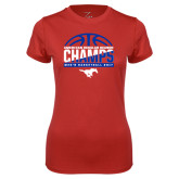 Ladies Syntrel Performance Red Tee-2017 AAC Regular Season Champs - Mens Basketball Half Ball