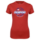 Ladies Syntrel Performance Red Tee-AAC Regular Season Champions 2017 Mens Basketball Lined Ball