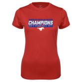 Ladies Syntrel Performance Red Tee-2017 AAC Regular Season Champions - Mens Basketball Stencil