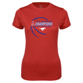 Ladies Syntrel Performance Red Tee-2017 AAC Conference Champions - Mens Basketball Contour Lines