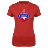Ladies Syntrel Performance Red Tee-2017 AAC Conference Champions - Mens Basketball Arched Net