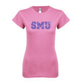 Next Level Ladies SoftStyle Junior Fitted Pink Tee-Rhinestone SMU