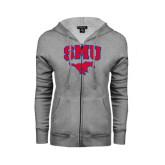 Ladies Grey Fleece Full Zip Hoodie-SMU w/Mustang