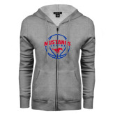 ENZA Ladies Grey Fleece Full Zip Hoodie-Mustangs Basketball Arched w/ Ball