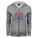 ENZA Ladies Grey Fleece Full Zip Hoodie-Mustangs Basketball Arched w/ Ball
