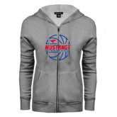 ENZA Ladies Grey Fleece Full Zip Hoodie-Mustangs Basketball Lined Ball