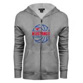 ENZA Ladies Grey Fleece Full Zip Hoodie-Mustangs Basketball Lined Ball